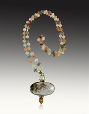 Natural Dendritic Picture Quartz, Pearl, Citrine Pendant on Multi Moonstone Chain