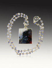 Scenic Dendritic Quartz Square on Wire Wrapped Tanzanite Gold Chain