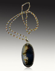 Oval Scenic Dendritic Quartz Pendant on Silver Wire Wrapped Ethiopian Opal Chain