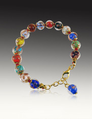 Multi Colored Authentic 24K Infused Venetian Glass Adjustable Bracelet