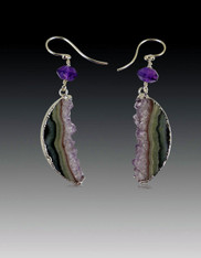 Brazilian Druzy Sterling Silver Amethyst Dangle Earrings