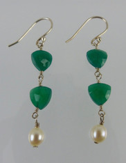 Green Onyx Sterling Silver Dangle Earrings