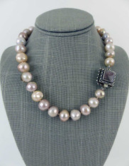 Grade AAA Opulent Pastel toned South Sea Hand knotted Pearls with Vintage Clasp SOLD