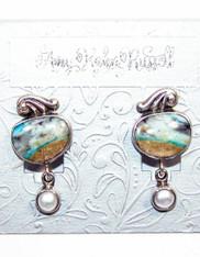 Amy Kahn Russell Sterling Larimar Pearl Clip/Post Earrings
