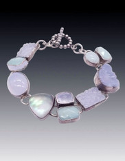 Amy Kahn Russell Moonstone, Amazonite Chalcedony Sterling Bracelet SOLD