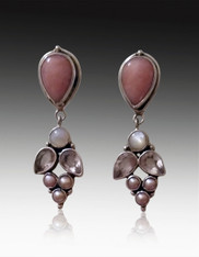 Echo of the Dreamer Pink Opal, Pearl, Rose Quartz Sterling Post Dangle Earrings