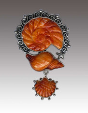 Amy Kahn Russell Hand Carved Spiny Oyster Sterling Pin/Pendant SOLD