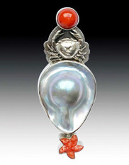 Amy Kahn Russell Coral Mabe Pearl Spiny Osyter Pin/Pendant