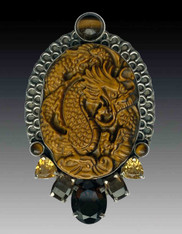 Amy Kahn Russell Hand Carved Tiger Eye Dragon Sterling Pin/Pendant