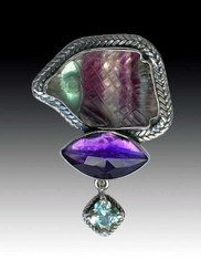 Amy Kahn Russell Hand Carved Fluorite Amethyst Sterling Pin/Pendant