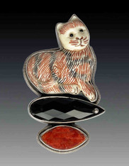 Amy Kahn Russell Hand Carved Striped Cat Onyx Coral Pin/Pendant SOLD