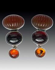 Amy Kahn Russell Domed Carnelian Garnet Amber Clip/Post Earrings