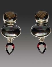 Amy Kahn Russell Smokey Topaz, Pearl, Garnet Sterling Clip/Post Earrings SOLD