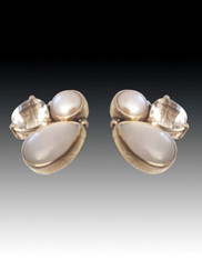 Amy Kahn Russell Freswater Pearl White Topaz Sterling Clip/Post Earring