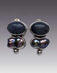 Amy Kahn Russell Gray Moonstone Biwa Pearl Sterling Clip/Post Earrings