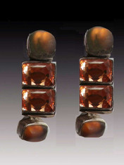 Amy Kahn Russell Citrine Moonstone Sterling Clip/Post Earring