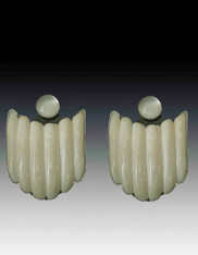 Amy Kahn Russell Hand Carved Bone Moonstone Clip/Post Earrings