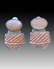 Amy Kahn Russell Peach Moonstone Bronze Clip/Post Earrings