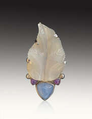 Amy Kahn Russell Hand-Carved Chalcedony Garnet Leaf Pin/Pendant