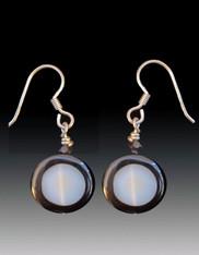 Gray Agate Black Rimmed Agate circle disc. Swarovski crystal, Sterling Earwires