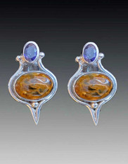Sajen Pietersite Amethyst Sterling Clip Earrings