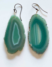 Green Agate Slice Earrings