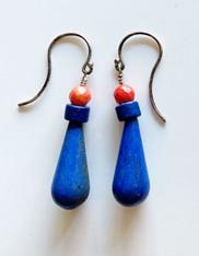 Lapis, Ceramic Greek Disc, Coral Dangle Earrings