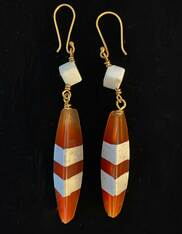 Striped Agate White Jade Long Dangle 18K Earrings