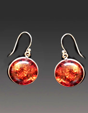Baltic Amber Sterling Disc Earrings