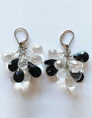 Faceted Onyx and Crystal Cluster Earrings with Sterling Earwire