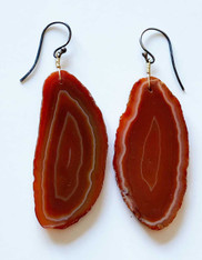 Red/Brown Natural Agate Slice Dangle Earrings on Sterling Earwire