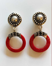 Indonesian Red Coral Sterling Embossed Silver Clip Earrings