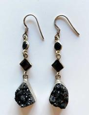 Black Druzy Triple Dangle with Onyx Highlight Earrings