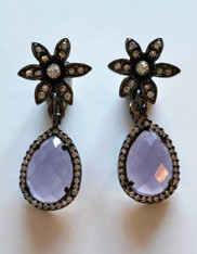 Faceted Amethyst crystal studded Teardrop with Star top Clip Earrings