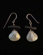 Mother of Pearl Black Coral Sterling Earrings