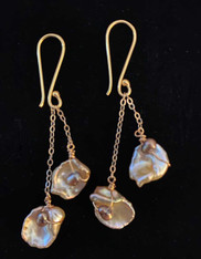 Cream Double Petal and freshwater Pearls 14K Chain and Earwires