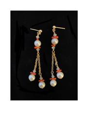 Pearl Coral Dangle Earrings 14K Post
