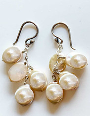 White Coin Pearl Dangle Earrings on Sterling Chain and Earwires