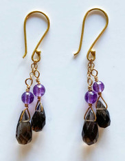 Double Topaz Amethyst Dangle 18 K Earrings