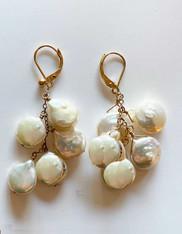 White Coin Pearl Dangle Earrings on 14K Leverbacks