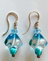 Vintage Venetian Swirl Glass Sterling Earrings
