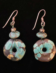 Turquoise Pyrite Wheel Sterling Earring