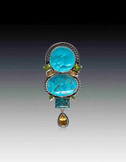 Amy Kahn Russell Turquoise Gem Encrusted Sterling Cat Pin/Pendant