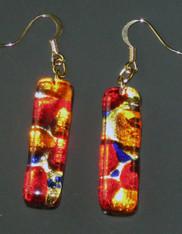 Red Combo Venetian Glass Tube Dangle Sterling Earrings