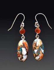 Fire Opal Mosaic Carnelian Sterling Dangle Earrings