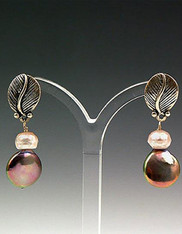 Sterling Leaf Mocha/ Pink Pearl Post Earrings
