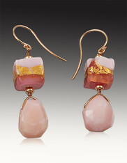 Pink Opal Venetian Pink Gold plated Squares with 14K Earwires