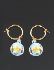 Bess Heitner Murano Glass Pale Blue Gold Foil 14K hinge Hoop Earrings