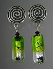 Venetian Green Black Silverfoil Tube Clip Earrings