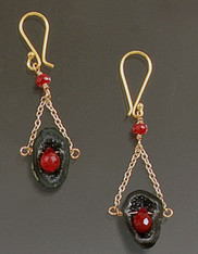 Tourmaline Geode Ruby 18K Dangle Earrings SOLD